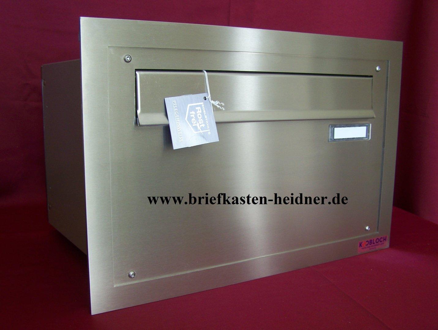 mdh17 knobloch mauerdurchwurf briefkasten 1 teilig fixtiefe 270 mm rahmen edelstahl www. Black Bedroom Furniture Sets. Home Design Ideas