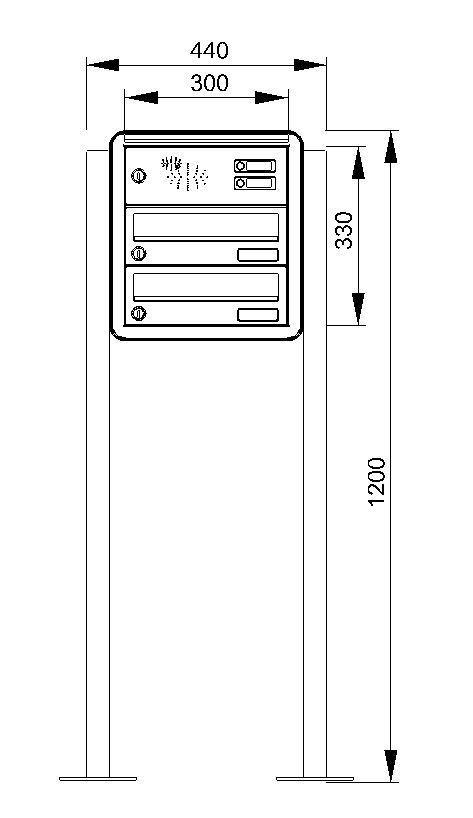 fah09 knobloch freistehende briefkastenanlage 2 tlg 2 klingeln z aufschrauben farbauswahl. Black Bedroom Furniture Sets. Home Design Ideas