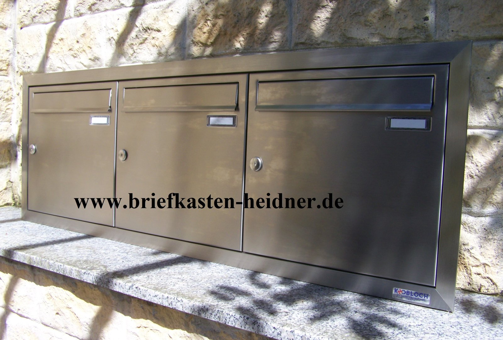 uph101 va knobloch unterputz briefkastenanlage 3 teilig edelstahl nebeneinander www. Black Bedroom Furniture Sets. Home Design Ideas