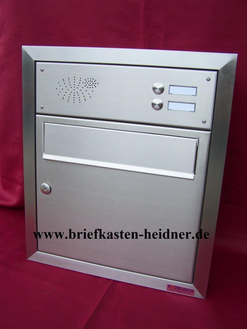 uph36 knobloch unterputz briefkasten 370 2 klingeln zeitungsklappe edelstahl www. Black Bedroom Furniture Sets. Home Design Ideas