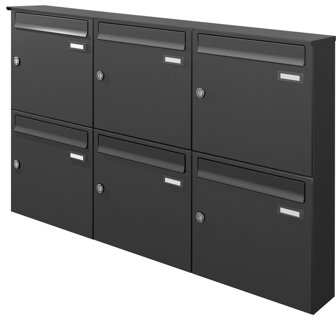 aph116 knobloch aufputz briefkasten 6 tlg tiefe 100. Black Bedroom Furniture Sets. Home Design Ideas