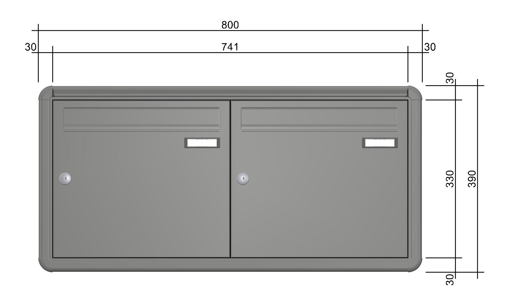 aph103 aufputz briefkastenanlage doppelbriefkasten 2 tlg tiefe 100 ri220 farbauswahl www. Black Bedroom Furniture Sets. Home Design Ideas
