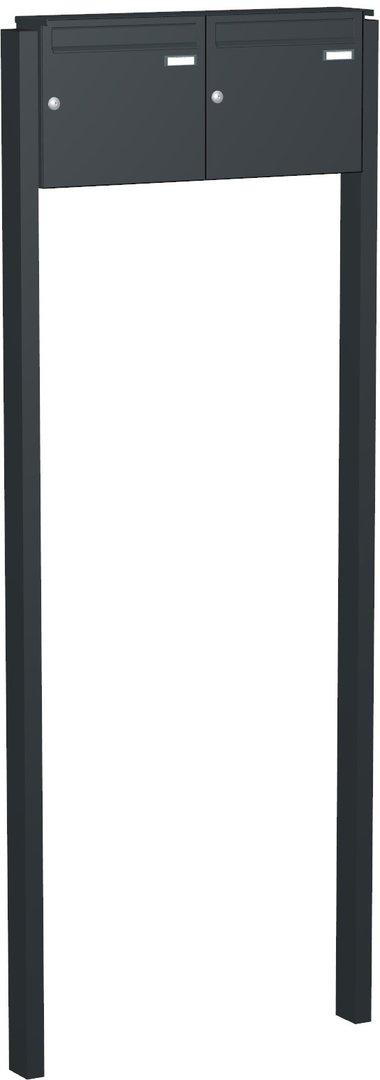 fah121 doppel briefkastenanlage freistehend 2 tlg ri244 zum einbetonieren farbauswahl www. Black Bedroom Furniture Sets. Home Design Ideas
