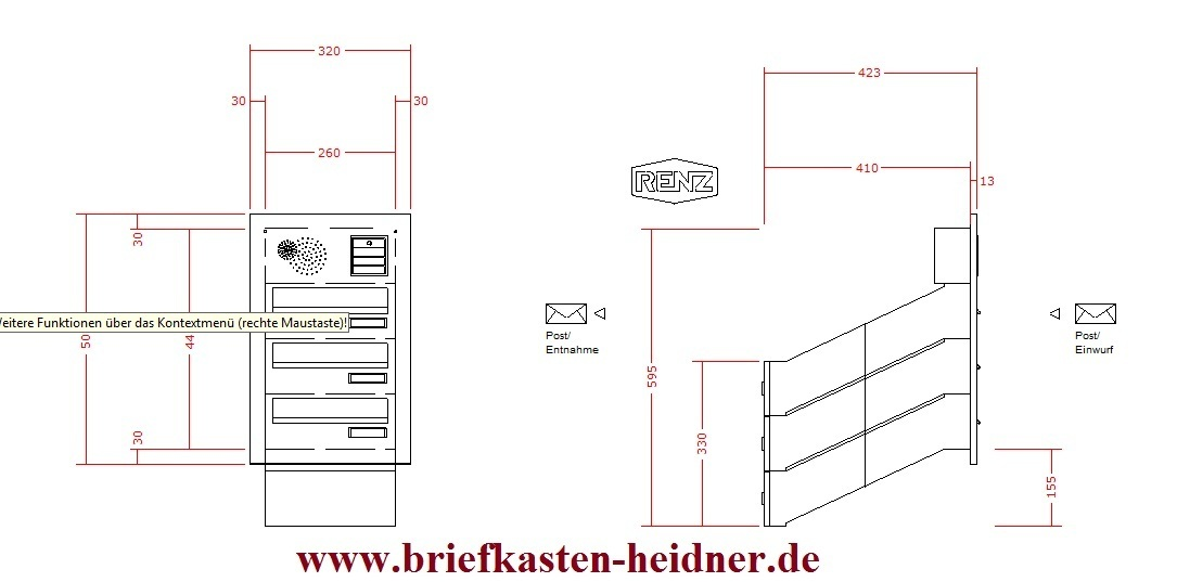 kah20 renz mauerdurchwurf briefkastenanlage 260 3 tlg licht klingel rsa1 sprechfeld. Black Bedroom Furniture Sets. Home Design Ideas