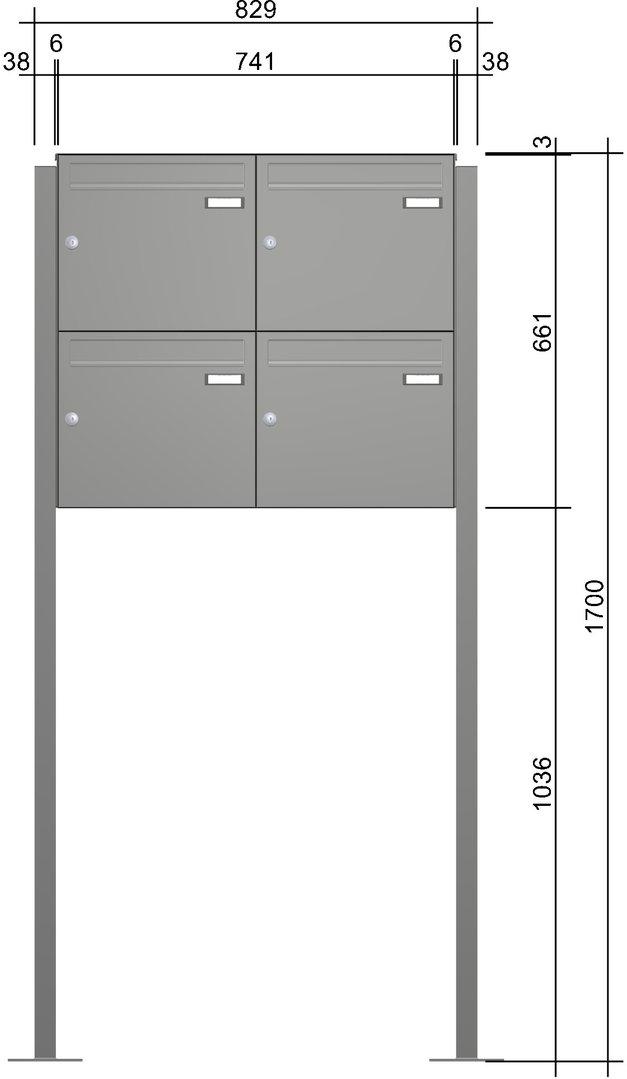 fah163 vierer briefkastenanlage freistehend 4 tlg ri244v zum aufschrauben farbauswahl oder. Black Bedroom Furniture Sets. Home Design Ideas